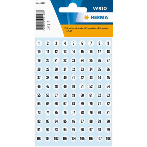 Herma 4128 VARIO Zahlen - Ø 8 mm - 1 bis 540 -...