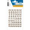Herma 4193 VARIO Zahlen - Ø 8 mm - 0 bis 9 - gold - glitzernd - 64 Sticker