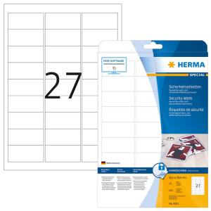 Herma 4233 SPECIAL Sicherheitsetiketten - DIN A4 - 63,5 x...