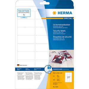 Herma 4233 SPECIAL Sicherheitsetiketten - DIN A4 - 63,5 x 29,5 mm - weiß - 675 Stück