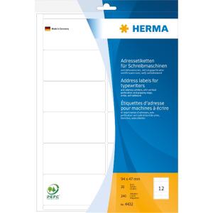 Herma 4432 Etikett - 94 x 47 mm - Adressbogen - 240...