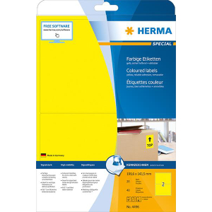 Herma 4496 SPECIAL Etiketten - DIN A4 - 199,6 x 143,5 mm - gelb - 40 Stück