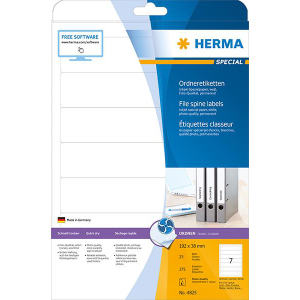 Herma 4825 SPECIAL Inkjet-Ordneretiketten - DIN A4 - 192 x 38 mm - weiß - 175 Stück