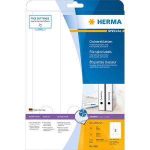 Herma 4831 SPECIAL Inkjet-Ordneretiketten - DIN A4 - 61 x 297 mm - weiß - 75 Stück