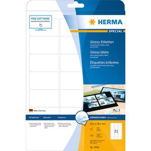 Herma 4904 SPECIAL Hochglanz-Etiketten - DIN A4 - 63,5 x 38,1 mm - weiß - 525 Stück