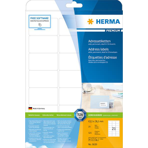 Herma 5029 PREMIUM Etikett - DIN A4 - 63,5 x 38,1 mm -...