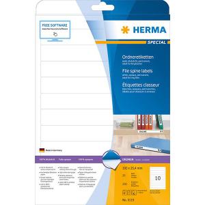 Herma 5119 SPECIAL Ordneretiketten - DIN A4 - 192 x 25,4 mm - weiß - 250 Stück