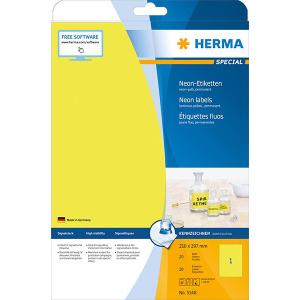 Herma 5148 SPECIAL Neonetiketten - DIN A4 - 210 x 297 mm - neongelb - 20 Stück