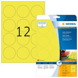 Herma 5152 SPECIAL Neonetiketten - DIN A4 - Ø 60 mm - rund - neongelb - 240 Stück