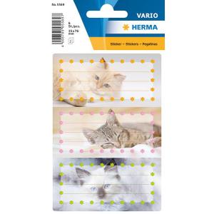 Herma 5569 VARIO Schuletiketten - Katzen - 6 Stück