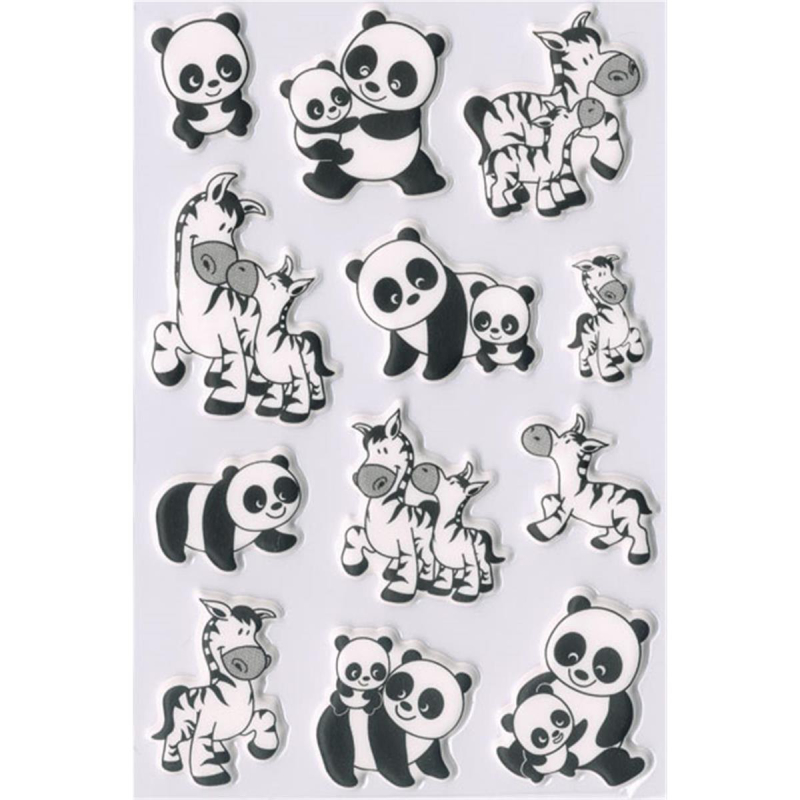 Herma 6021 MAGIC Sticker - Panda & Zebrafamilien - 12 Sticker