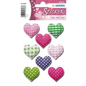 Herma 6288 MAGIC Sticker - Herzen - Stoff - 8 Sticker