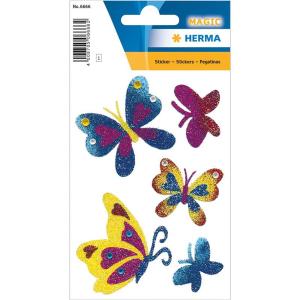 Herma 6666 MAGIC Sticker - Schmetterlinge - glitzernd - 5...