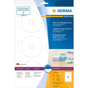 Herma 8619 SPECIAL Mini-CD-Etiketten - DIN A4 - Ø 78 mm - weiß - 60 Stück