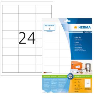 Herma 8633 PREMIUM Etiketten - DIN A4 - 66 x 33,8 mm - weiß - 240 Stück