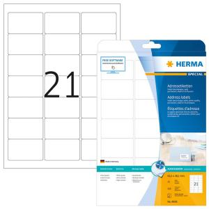 Herma 8838 SPECIAL Inkjet-Etiketten - DIN A4 - 63,5 x 38,1 mm - weiß - 525 Stück
