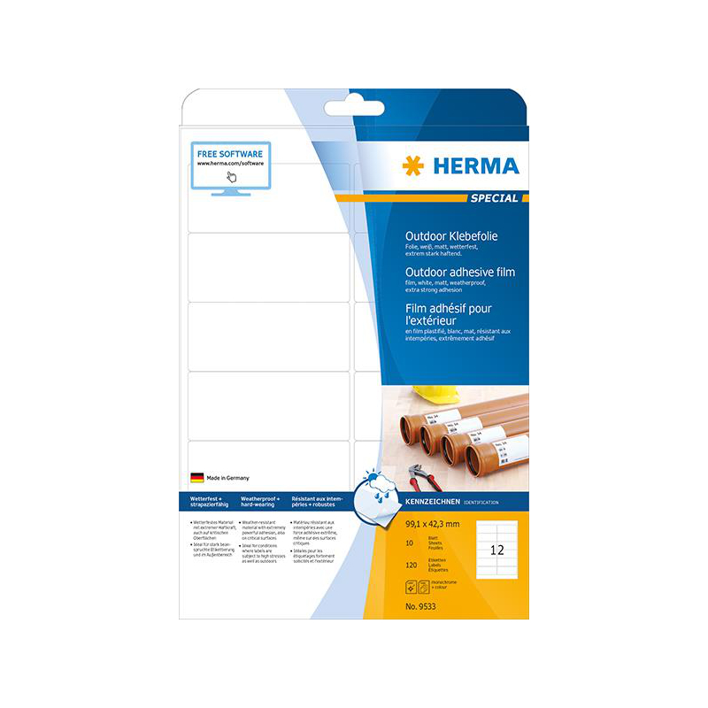 Herma Etikett 99,1x42,3mm ws Outdoor A4