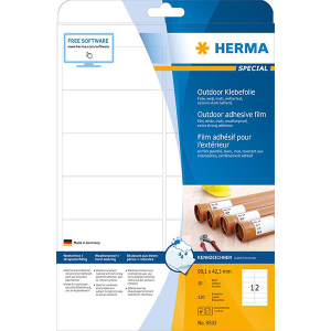 Herma 9533 SPECIAL Outdoor Folienetikettent - DIN A4 - 99,1 x 42,3 mm - weiß - 120 Stück