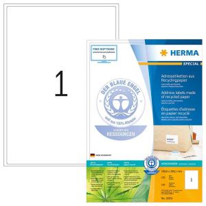 Herma 10831 SPECIAL Etiketten - aus Recyclingpapier - DIN A4 - 199,6 x 289,1 mm - weiß - 100 Stück