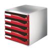 Leitz Schubladenbox Post-Set - DIN A4 - 5 Schubladen - rot