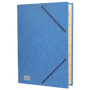 RNK Gummizug-Sammelmappe, A4, Fächer 9, blau