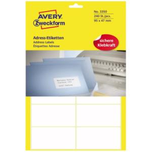 Avery Zweckform Adress-Etiketten auf Bogen, 95x47mm,...
