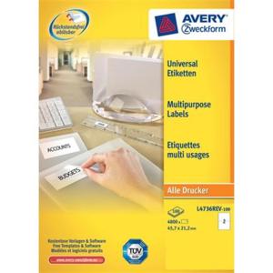 Avery Zweckform Etiketten wiederablösbar, 45,7x21,2,...