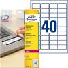 Avery Zweckform Etiketten abziehsicher, 45,7x25,4, PG=800ST, weiß