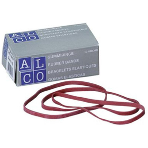 Alco Gummibänder, 100x5mm, Inhalt 50g, rot