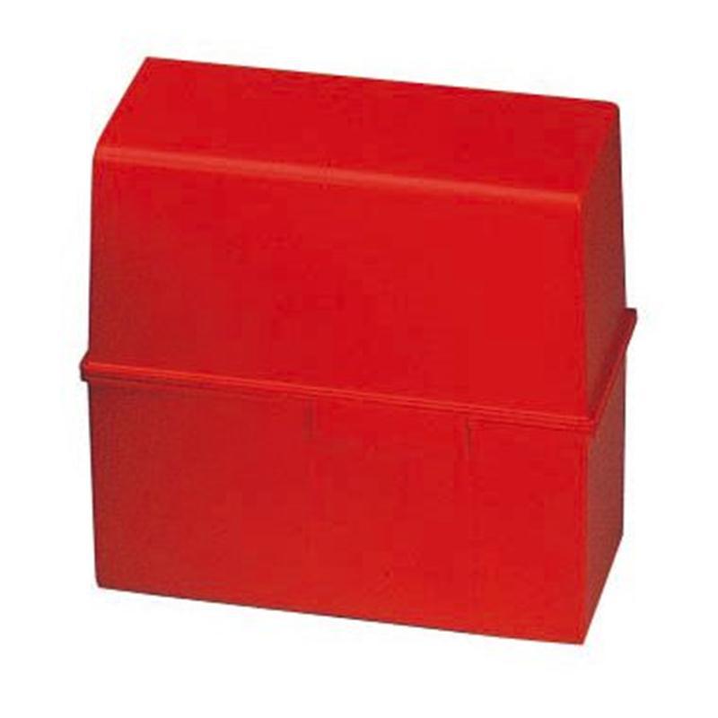 HAN Karteibox DIN A6 quer transp. für 400 Karten mit Stahlscharnier