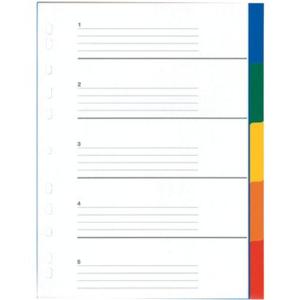 Register blanko Kunststoff, 5 Blatt, A4, 5-farbig