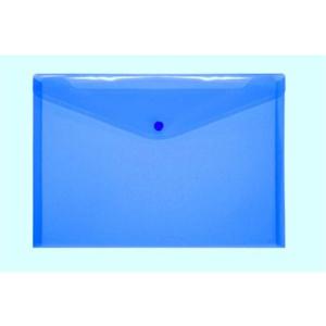 FolderSys Dokumententasche PP A4 blau transp. mit Druckknopf