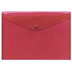 FolderSys Dokumententasche PP A4 rot transp. mit Druckknopf