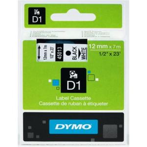 Dymo D1-Schriftband 12mm breit, 7m lang, sw auf ws
