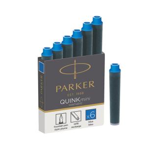 Parker Tintenpatrone Quink mini, blau waschbar 6er Box