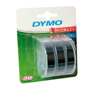 Prägeband PVC 9mmx3m, 3er Blister schwarz