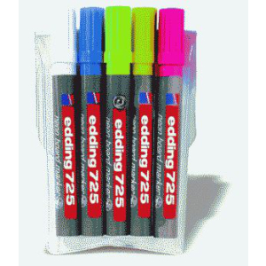 edding 725 Neon-Boardmarker - Keilspitze - 2-5 mm - 5er Set