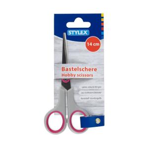 Stylex Bastelschere - 14 cm - spitz - farbig sortiert