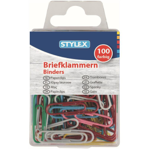 Stylex Briefklammern - Metall - farbig - 100er Schachtel