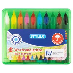 Stylex Wachsmalstifte - wasserfest - in Schiebehülse...