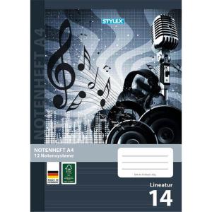 Stylex Notenheft - DIN A4 - Lineatur 14 - 8 Blatt
