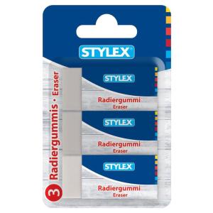 Stylex Radiergummi - mit Pappbanderole - weiß - 3...