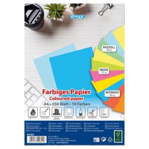 Stylex Farbiges Papier - DIN A4 - 250 Blatt