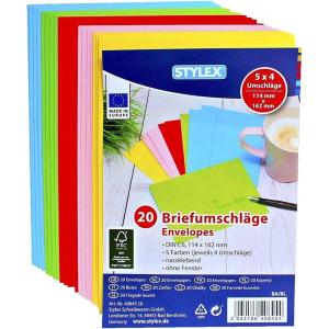 Stylex Briefumschläge - DIN C6 - farbig - 20 Stück