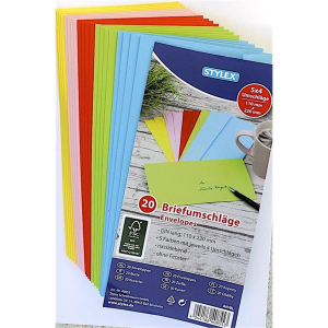 Stylex Briefumschläge - DIN lang - farbig - 20...