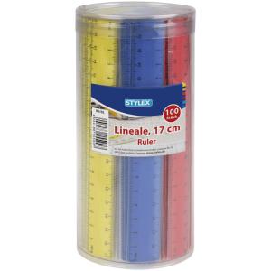 Stylex Lineal - 17 cm - Kunststoff - farbig sortiert