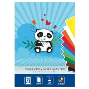 Stylex Tonzeichenpapier - DIN A3 - 10 Farben - 10 Blatt