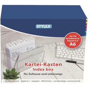 Stylex Karteikasten - DIN A6 - Register A-Z - 100 Karten...
