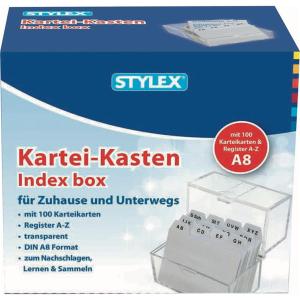 Stylex Karteikasten - DIN A8 - Register A-Z - 100 Karten...