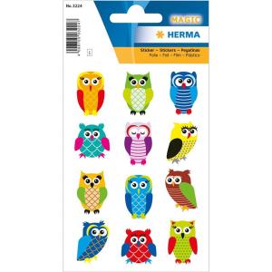 Herma 3224 MAGIC Sticker - Eulen - beglimmert - 12 Sticker